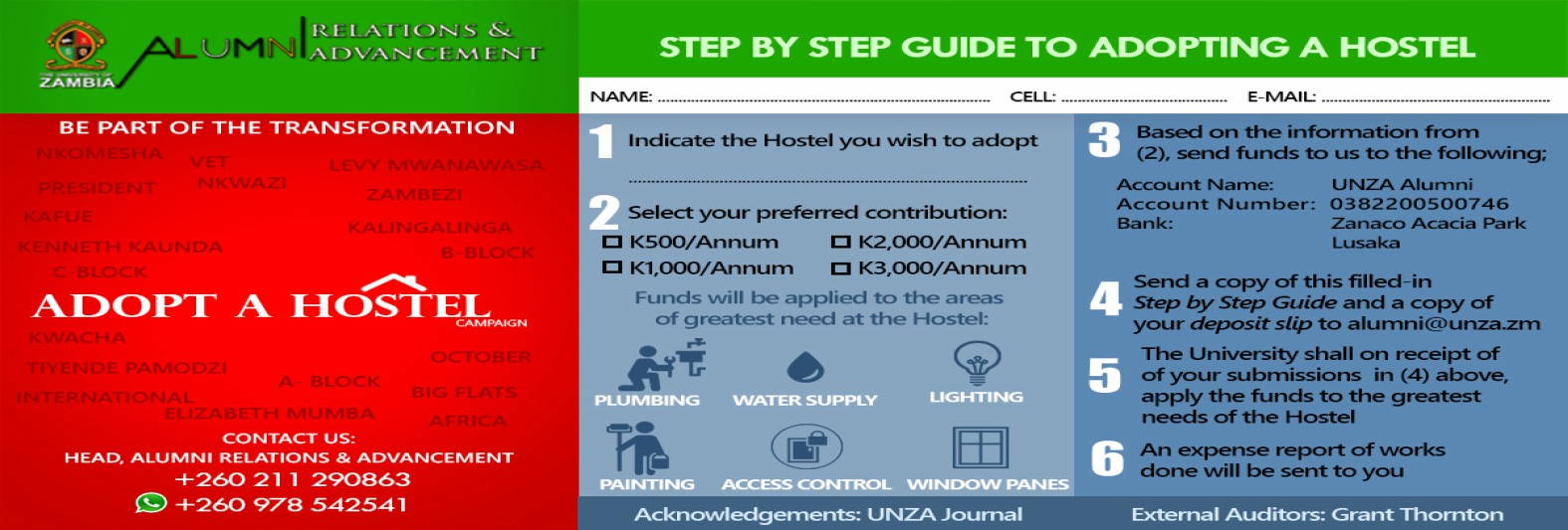 Step by Step Guide to Adopting a Hostel at UNZA