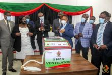 PS Ministry of Higher Education, Deputy Vice Chancellor, UNZA management and stakeholders viewing the ventilator during the launch